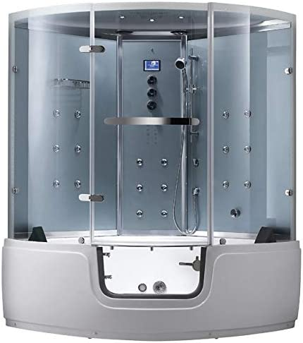 2020 Madison Computerized Steam Shower Sauna with Jetted Whirlpool Massage Walk-In Bathtub Spa White