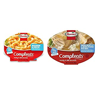 Hormel COMPLEATS Macaroni & Cheese, 7.5 Ounce (Pack of 7) & Chicken Breast with Rib Meat and Mashed Potatoes with Gravy, 10 Ounce, Pack of 6