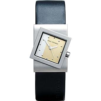 Uhr - Analog Quarz - Titan Leder - schwarz