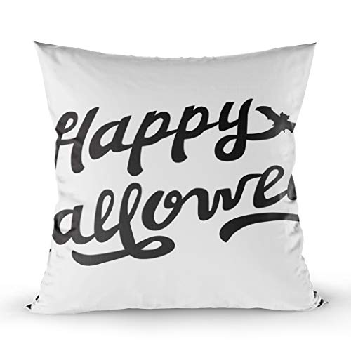 EMMTEEY 20x20 Pillow Covers, Home Throw Pillow Covers for Sofa Cushion Cover Scary Drawn Lettering Happy Halloween Isolated White Background Black Logo Decorative Square Double Sided Printing ()