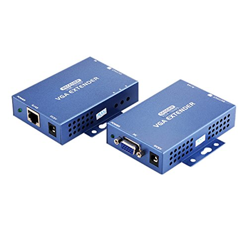 VGA Video Extender with Audio over Single RJ45 Cat 5e Cat6 Ethernet Cable (up to 100m, Sender+Receiver) (Audio Extender Sender)