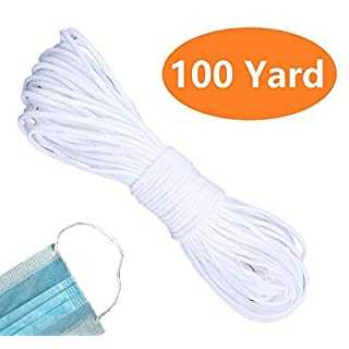Elastic Ear Tie Cord String Round Stretchy Earloop Strap Sewing for DIY Craft Handmade Making Stretch Rope Band White 100 Yards