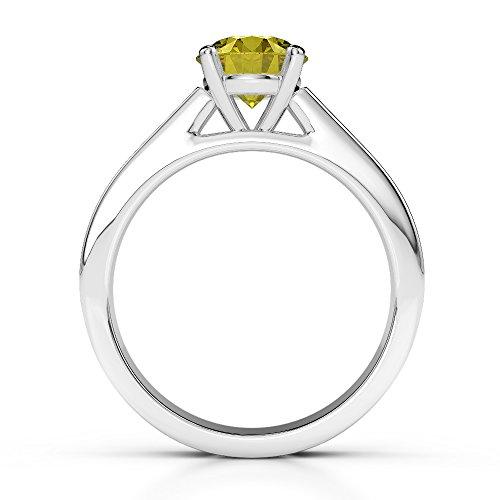 G-H/VS 1CT Coupe ronde sertie de diamants Saphir Jaune et bague de fiançailles en platine 950Agdr-1219