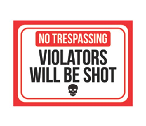 Aluminum Metal No Trespassing Violators Will Be Shot Print Red White Black Poster Skull Picture Symbol Gun Humor Right