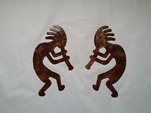 Kokopelli Man Set of 2 Metal Wall Art Decor Accents Antiq...