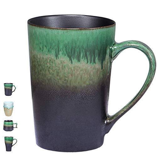 Handmade Pottery Coffee/Tea Mug Polish - 14 oz Rustic Stoneware Ceramic Cup Clay Art by Oojdzoo - Gift for Father