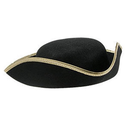 Jacobson Hat 28250 Permalux Gold Trim Tricorn Hat For Adults