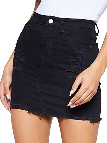 (just quella Women's High Waisted Jean Skirt Fringed Slim Fit Denim Mini Skirt (S, Black Hole)