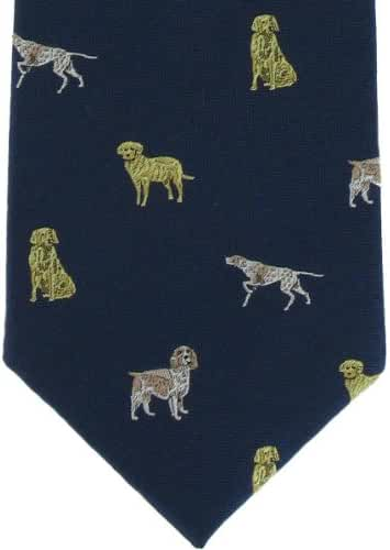 Navy Gun Dogs Silk Tie by Michelsons of London