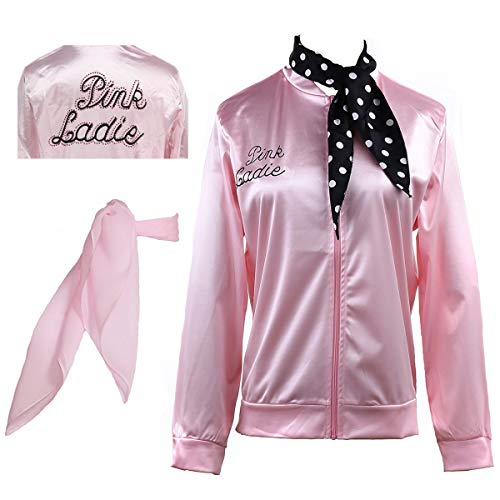 Yan Zhong 1950s Pink Ladies Satin Jacket with Neck Scarf T Bird Women Danny Halloween Costume Fancy Dress (with Rhinestone on The Back, X-Large)]()