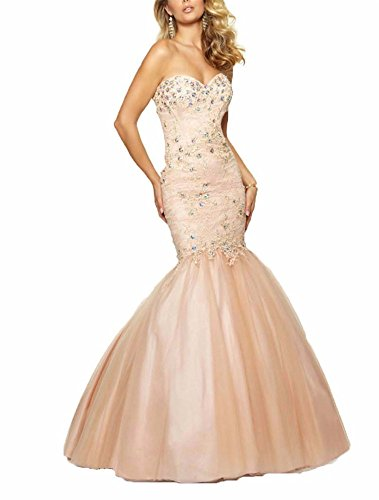 Tsbridal Beaded Mermaid Prom Dresses 2017 Sweetheart Evening Party GownsXC395-Blush6