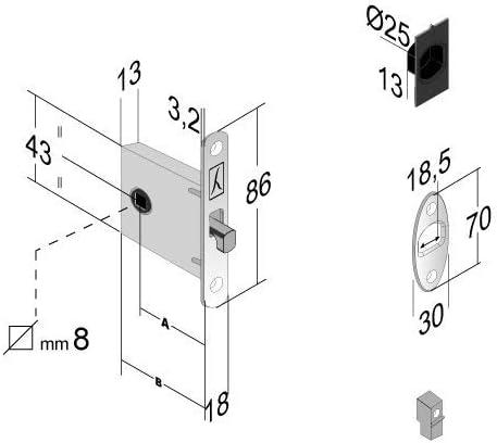 Cerradura compacta de gancho para puerta corredera Bonaiti G500