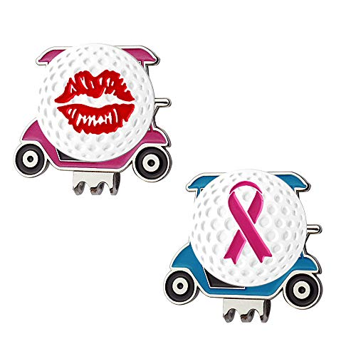 Myartte Powerful Magnetic Golf Cart Hat Clip, Assorted Pattern Golf Ball Markers 24.4MM,Nice Golf Gift for Women Men Kids,Pack of 2 (red Lip and Ribbon)
