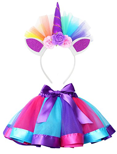 LYLKD Little Girls Layered Rainbow Tutu Skirts with Unicorn Horn Outfit Princess Ballet Dance Costumes (Royal Blue, M,2-4 Years)