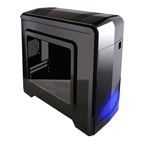 APEVIA X-QTIS-BK Micro ATX Gaming/HTPC Case, Supports Video Card up to 340mm/ATX PS, 1 x Window, USB3.0/USB2.0/HD Audio Ports, 1 x 120mm Blue LED fan, Dust filter, Black