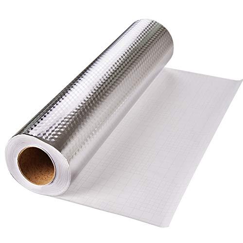 Yija Kitchen Backsplash Self-Adhesive Aluminum Foil Texture Oil Dust Resistant Removable High Temperature Resistant DIY Wallpaper Kitchen Stickers (Silver Wallpaper Metalic)