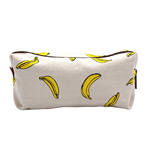 LParkin Bananas Students Super Large Capacity Canvas Pencil Case Pen Bag Pouch Stationary Case Makeup Cosmetic Bag (Bananas) ()