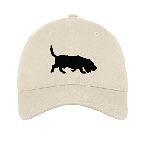 Basset Hound Dog Silhouette Twill Cotton 6 Panel Low Profile Hat Stone