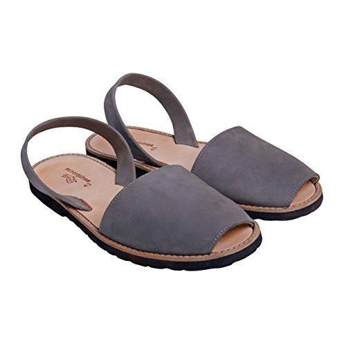 Minorquines - Sandales Avarca Nubuck Dark Grey - Homme
