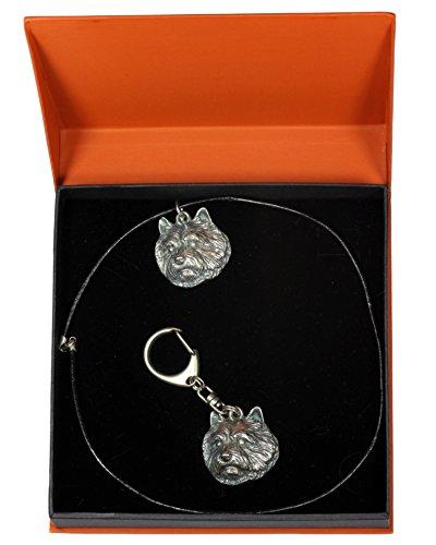 ArtDog Limited Edition Prestige Set Norwich Terrier Dog Keyring and Necklace in Casket
