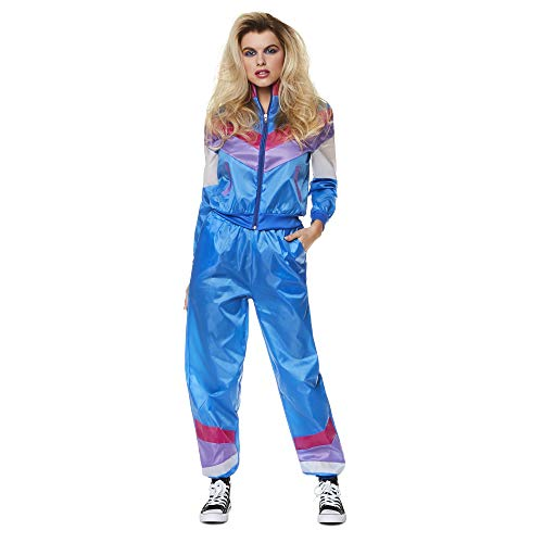 80s Shell Suit - 1980s Women's Neon Retro Vintage Windbreaker Tracksuit, Blue, ()