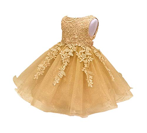 (HX Baby Girl's Lace Gauze Christening Baptism Wedding Dress with Petticoat (4T/110, Gold))