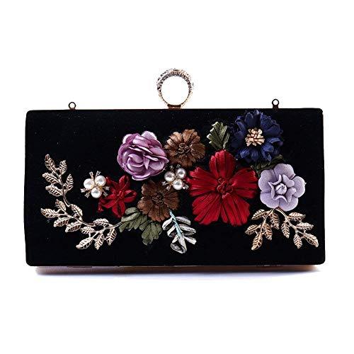 Sacs détachable Embrayage Sacoche avec A à Brillant bandoulière Main soirée chaîne Fleur Floral Womens de de Sac Besace Perles A OqIxXBwaa