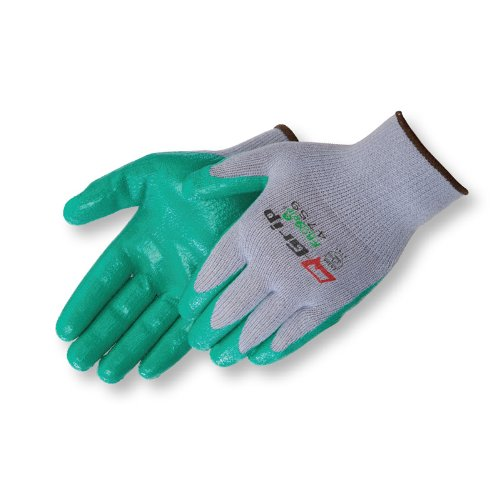 Liberty Q-Grip Ultra-Thin Nitrile Palm Coated Plain Knit Glove with 10-Gauge Gray Cotton/Polyester Shell, X-Large, Green (Pack of 12)