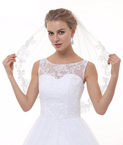 - SABridal 2 Tiers Soft Tulle Bridal Wedding Veil Vintage Lace Bridal Veils Ivory