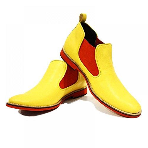 Jaune & Bottes pour hommes Red Shoes - Handmade Colorful italiennes en cuir Shoes Chaussures Casual formelle prime unique Vintage Bottines _ lacets Robe Hommes