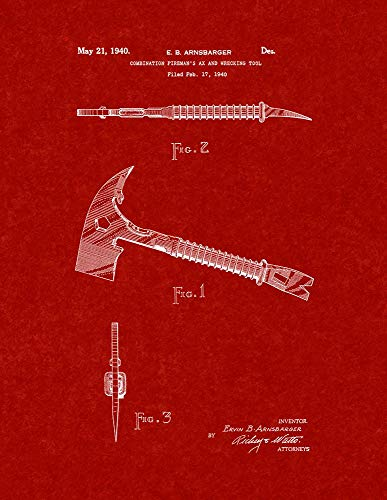Burgundy Red Art Print - Combination Fireman's Ax and Wrecking Tool Patent Print Burgundy Red (11