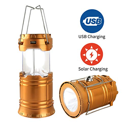 LED Camping Lantern, Solar and USB Charging Lantern Flashlight Collapsible and Portable Light for Daily/Camp/Hiking/Night Fishing/Emergency/Hurricanes/Storm(1 Pack)
