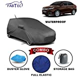Fabtec Waterproof Car Body Cover for Honda Amaze 2018 with Mirror Antenna Pocket Storage Bag & Microfiber Glove Combo