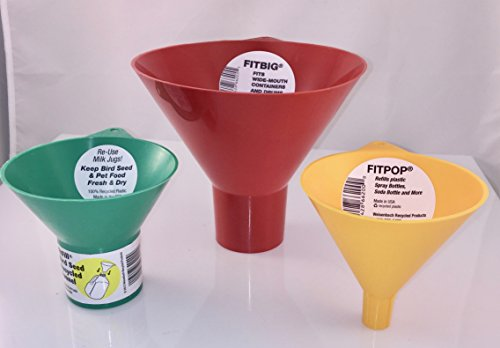 Fit Fill Funnel FITFILL00600 Fitbig Funnel - Red, Fit & Fill Funnel FITFILL00200 Green Birdseed Funnel, Fit & Fill Funnel FITFILL00400 Yellow Soda Bottle, Bundled Plastic Funnel Set 3 Pieces