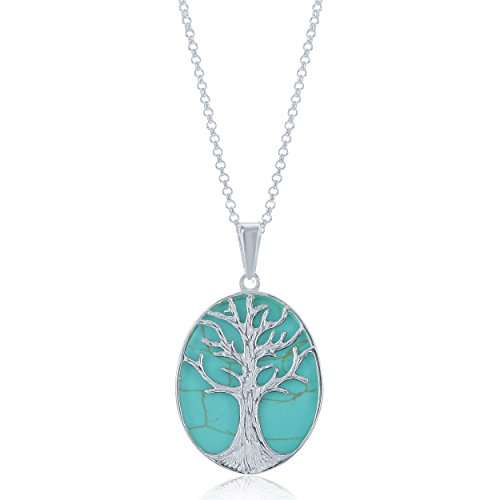 Beaux Bijoux Sterling Silver Natural Stone Turquoise Tree of Life Oval Pendant w/18 Thick Rolo Chain/Necklace