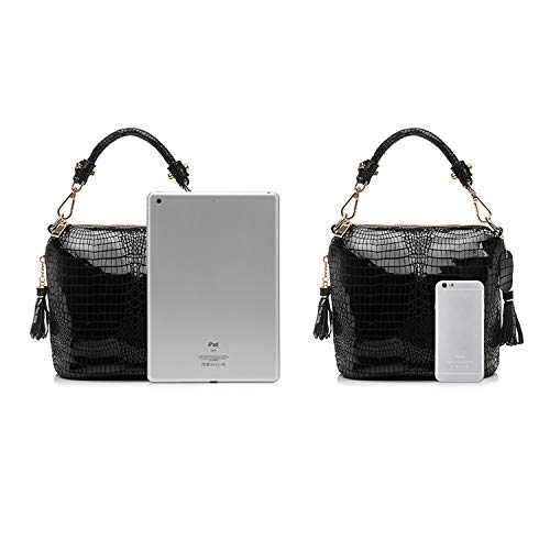 747b363fc0ce Chibi-store genuine leather handbag women small tote bag tassel shoulder  bags female serpentine,Sky Blue