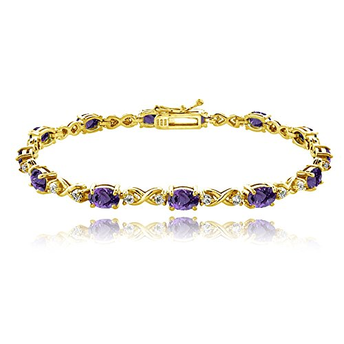 GemStar USA Yellow Gold Flashed Sterling Silver African Amethyst 6x4mm Oval Infinity Bracelet with White Topaz -