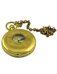 VIGOROSO Men's Classic Double Hunter Copper Hand Winding Steampunk Mechanical Pocket Watch