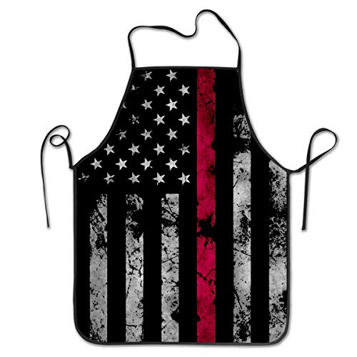 (COLOMAKE Firefighter Thin Red Line American Flag Bib Apron Waterproof Event Party BBQ Cooking Kitchen Aprons for Women Men Adults)