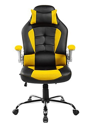 Merax King Series High-back Ergonomic Pu Leather Office Chair Racing Style Swivel Chair Computer Desk Lumbar Support Chair Napping Chair (Yellow)
