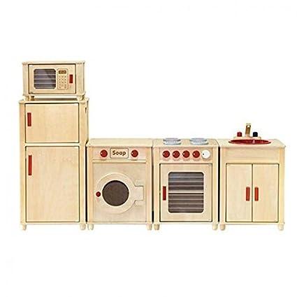 Amazon Com Viga Kids Wooden Kitchen Set Fridge Microwave Oven