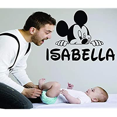 Personalized Name Vinyl Decal Sticker Custom Initial Wall Art Personalization Decor Girls Boys Kids Bedroom Cartoon Mickey Mouse Peeking 14 Inches X 20 Inches: Baby