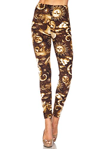 PALI USA New Printed Brushed Buttery Soft Leggings Regular and Plus (Sun and Moon, Large/X-Large (12-24))