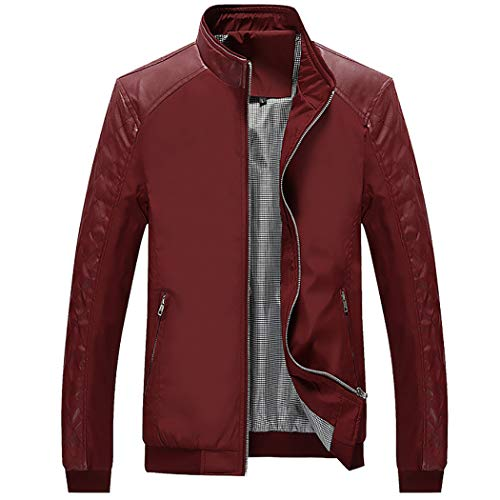 WULFUL Men's Bomber Jacket Casual Stand Collar Slim Fit Leather Sleeve Jackets by WULFUL