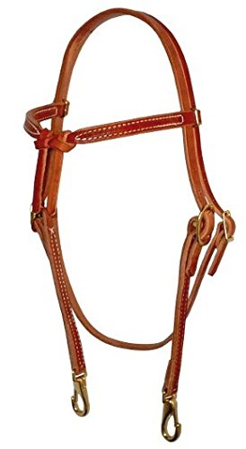 Amish USA Horse Tack Hermann Oak Leather Knotted Browband with Snap 975H201 ()