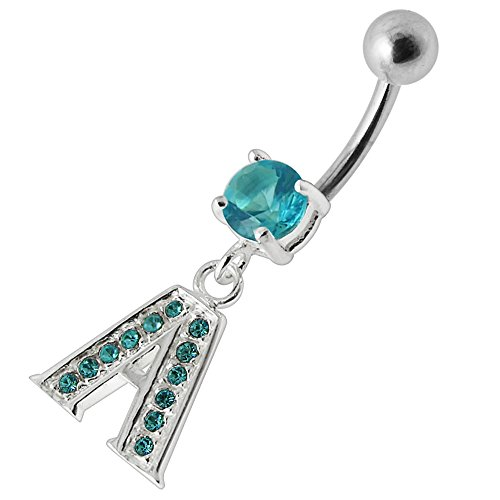 Aquamarine CZ Stone A Alphabet Dangling Design 925 Sterling Silver Belly Button Piercing Ring Jewelry