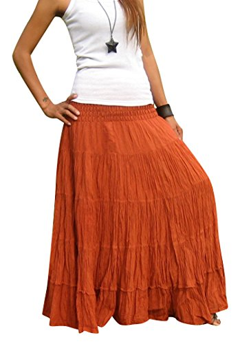 Women's Plus Size Long Maxi Pleated Skirt with Elastic Waist One Size Fits Most. Terra