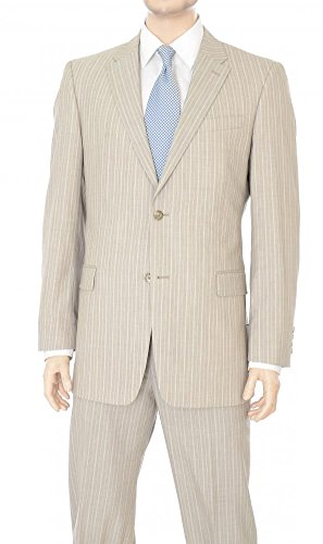 Willis & Walker Mens Modern Fit Tan Gray Striped Two (Striped Worsted Wool Suit)