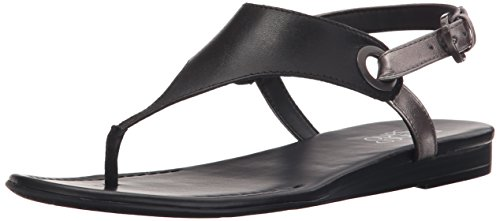 Franco Sarto Women's Grip Flat Sandal, Black, 6.5 M (Heel Thong)