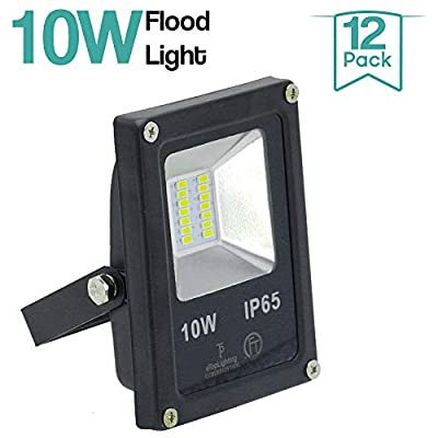 |12-Pack|10W 120V Waterproof Outdoor Garden Yard LED Flood Light Daylight White